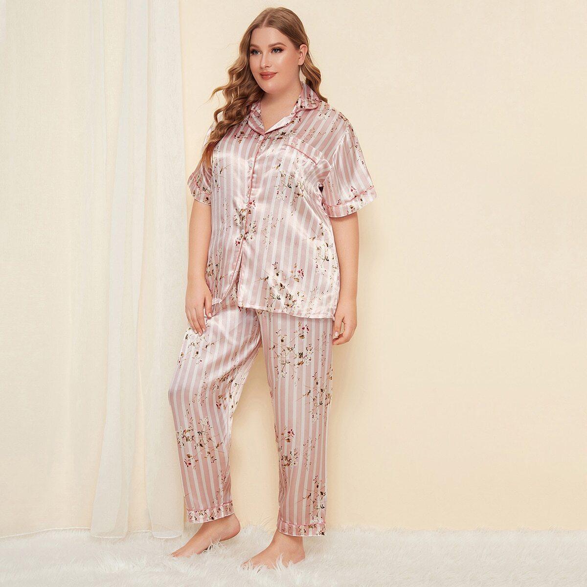 Plus satijnen pyjama met bloemen- en gestreepte voorkant