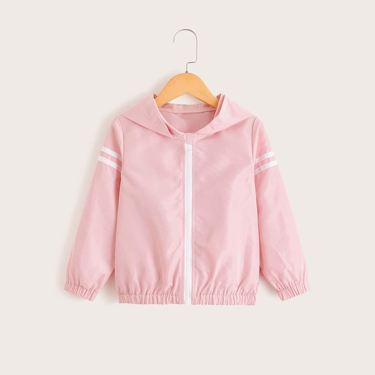 Roze  Casual Gestreept Jassen kleuters-meisjes Zijstrepen
