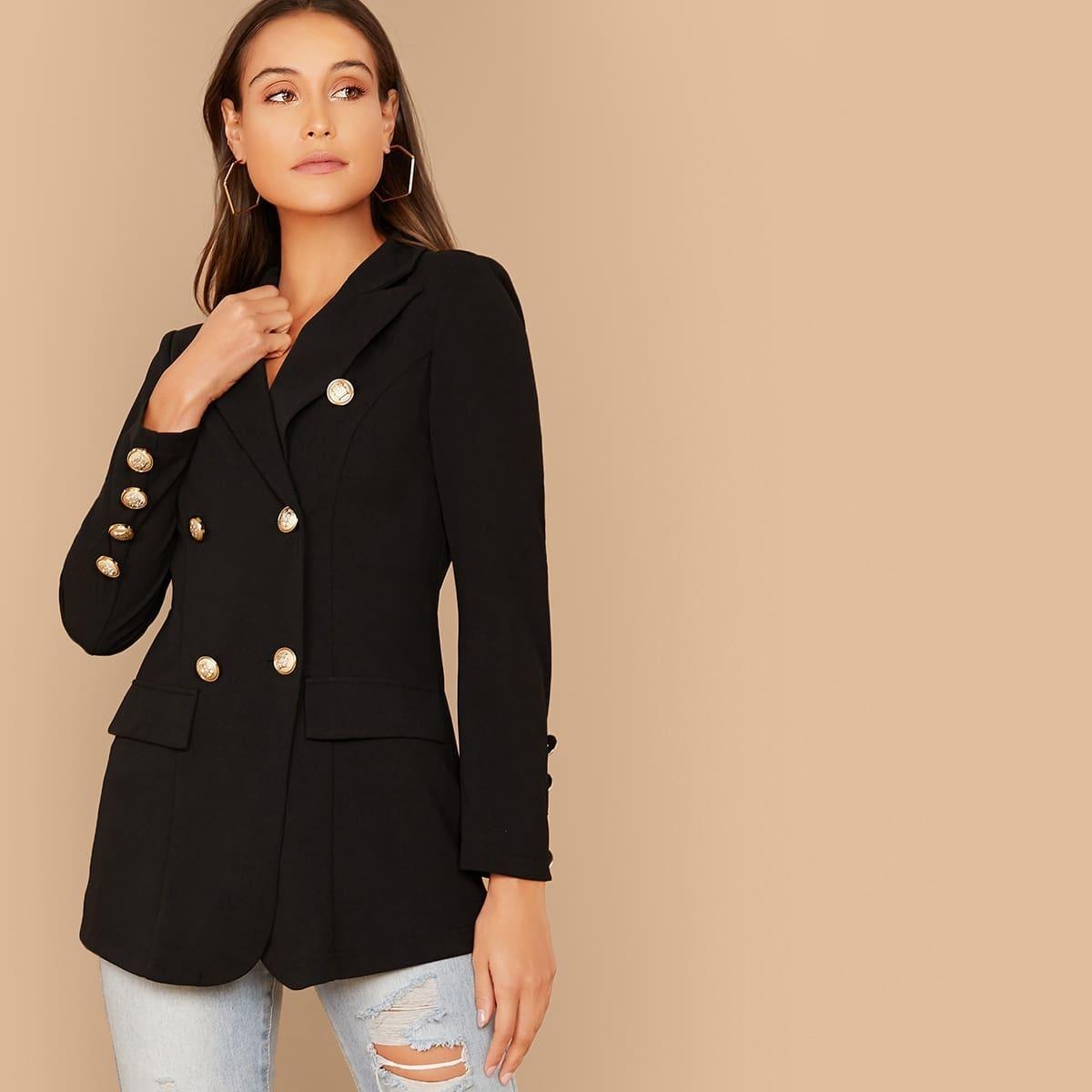 Двубортный пиджак с клиновидным вырезом от SHEIN