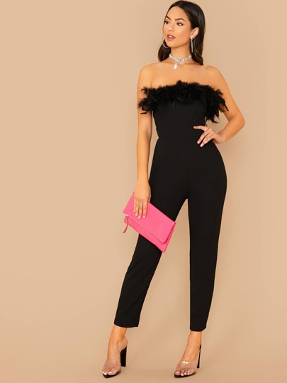 SheIn / Faux Feather Trim Tube Jumpsuit