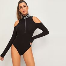 Cold Shoulder Zipper Front Rib-knit Fitted Bodysuit