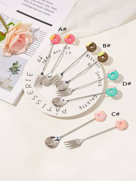 Donut Design Spoon & Fork Set 2pcs
