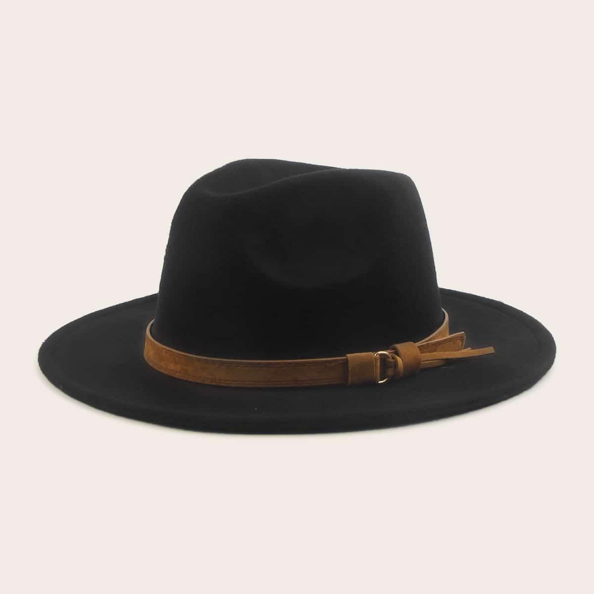 Мужская Шляпа С Широкими Полями И Кожаной Отделкой от SHEIN