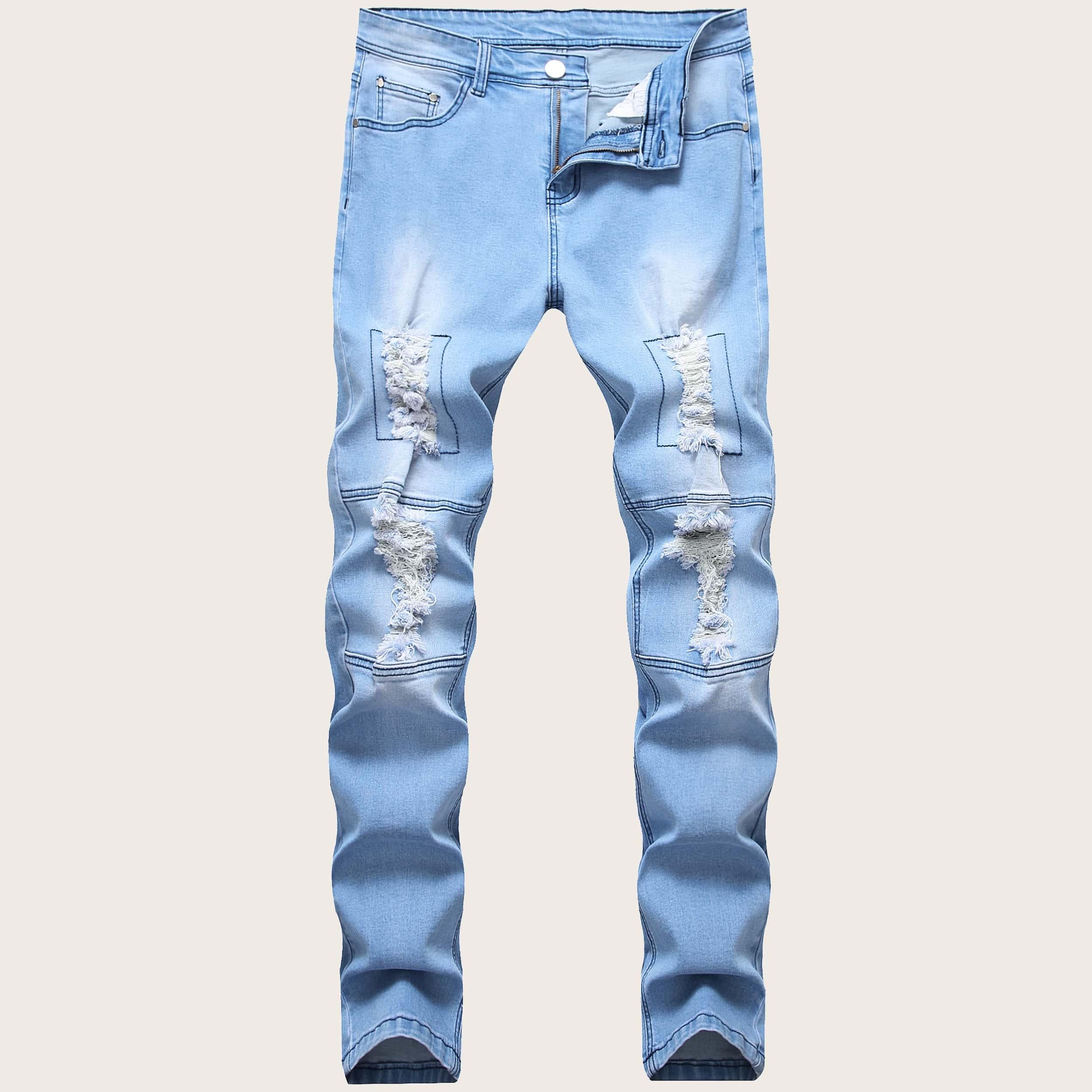 Blauw Casual Vlak Heren Jeans Knoop