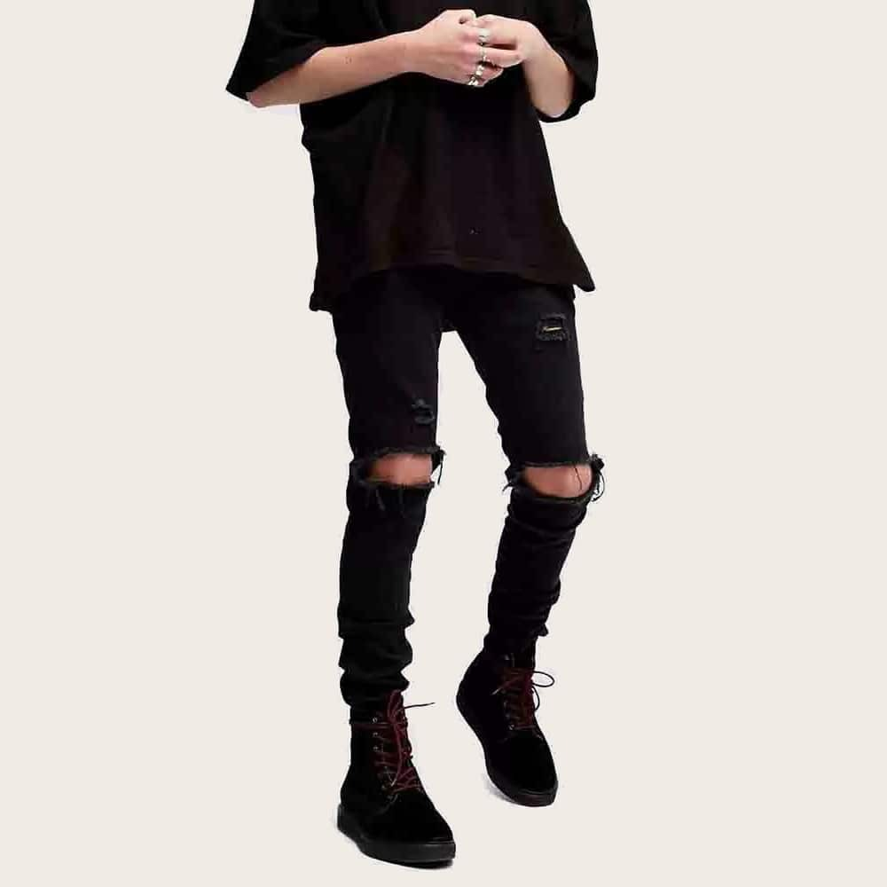 Zwart Casual Vlak Heren Jeans Zak
