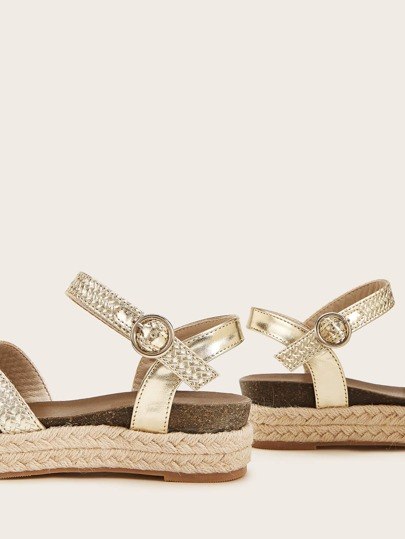 SheIn / Metallic Cross Strap Espadrille Wedges