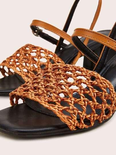 SheIn / Open Toe Braided Slingback Chunky Heels