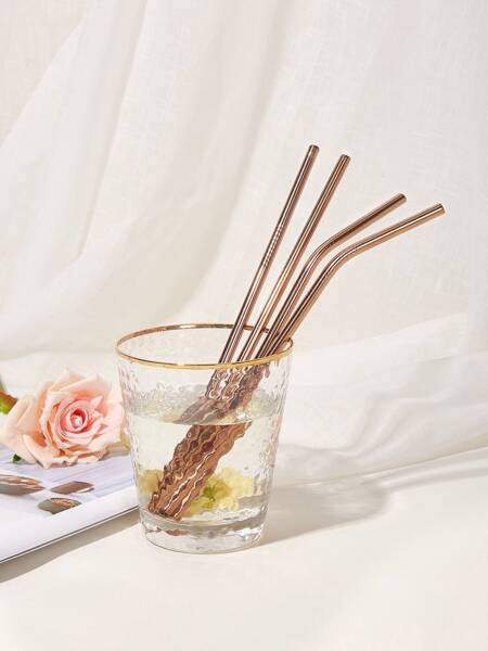 Stainless Steel Straw 4pcs & Cleaning Brush 1pc & Pouch Bag 1pc