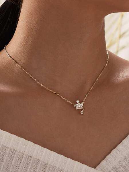 Rhinestone Decor Charm Necklace 1pc