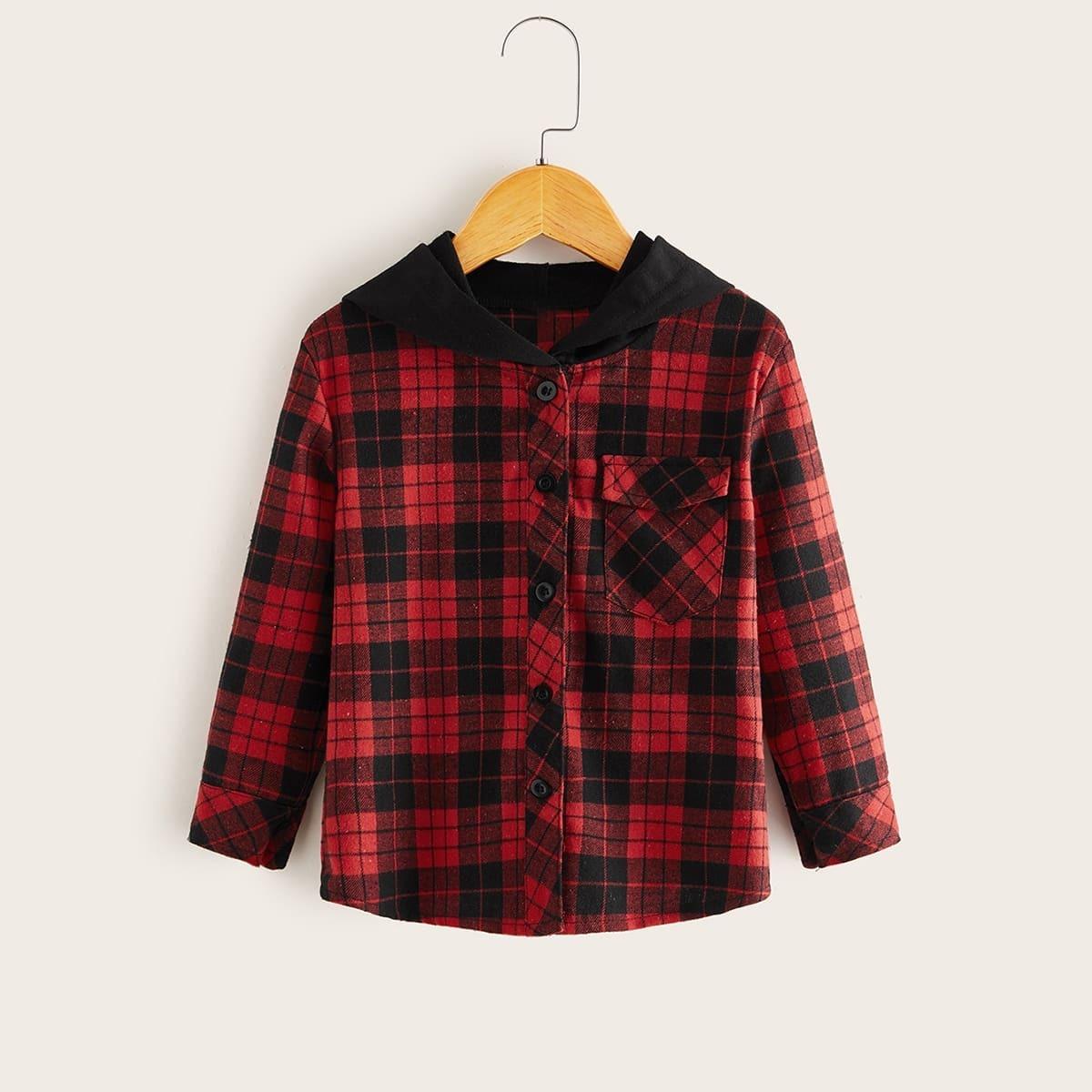 Rood Casual Ruitmotief Kleuterjongen hemdjes Contracst kraag