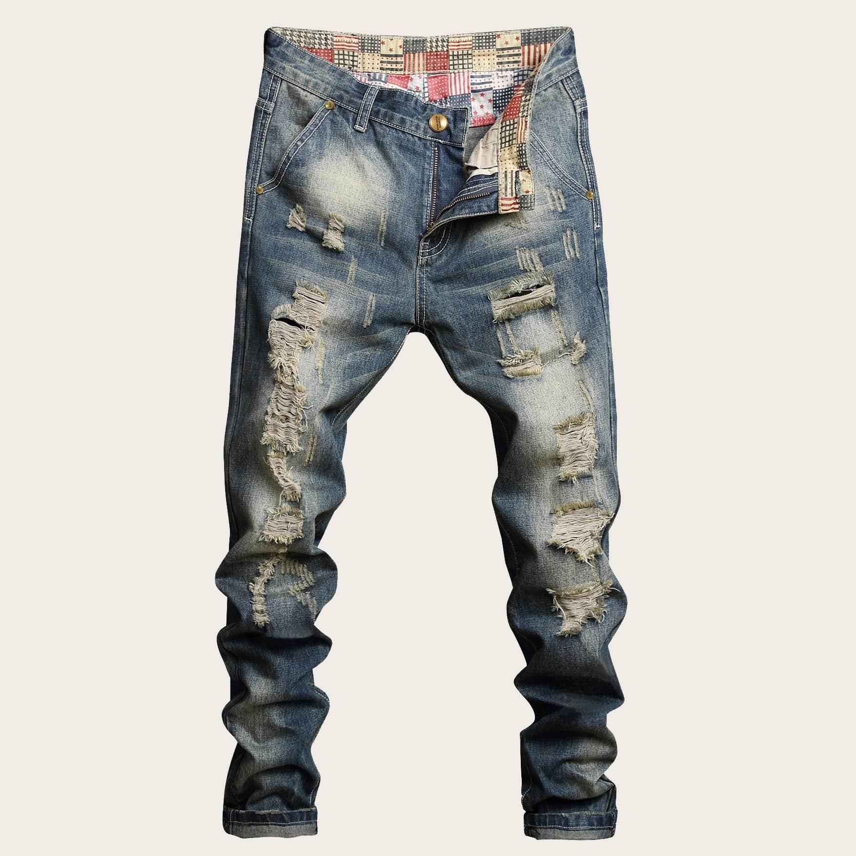 Blauw Casual Heren Jeans Knoop