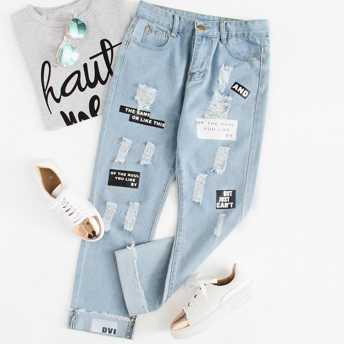 Blauw Casual Tekst Grote maten: jeans Gescheurd