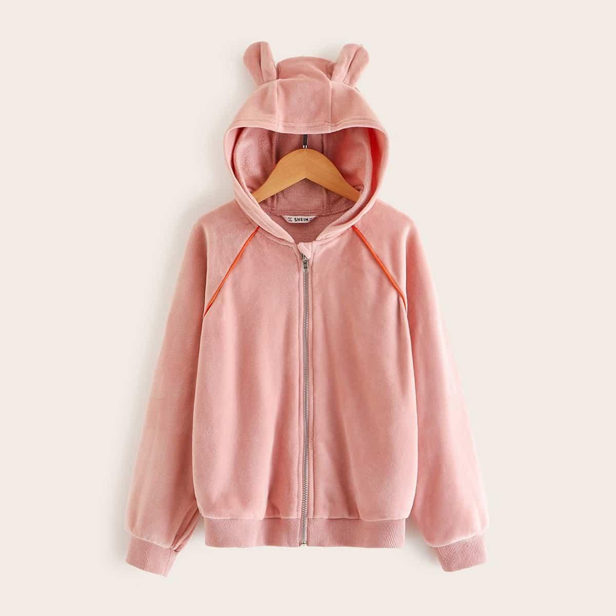 Бархатная куртка с капюшоном в форме ушей 3D для девочек от SHEIN