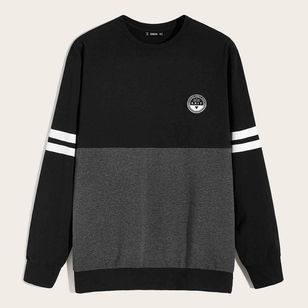 Veel kleurig Sporten Kleurblok Gestreept Sweatshirts voor heren