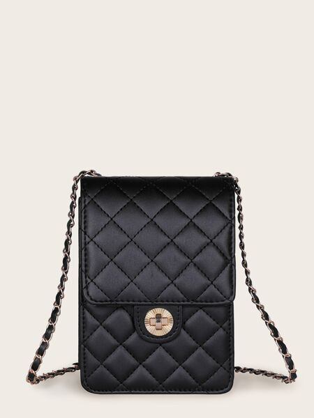 Twist Lock Quilted Chain Bag