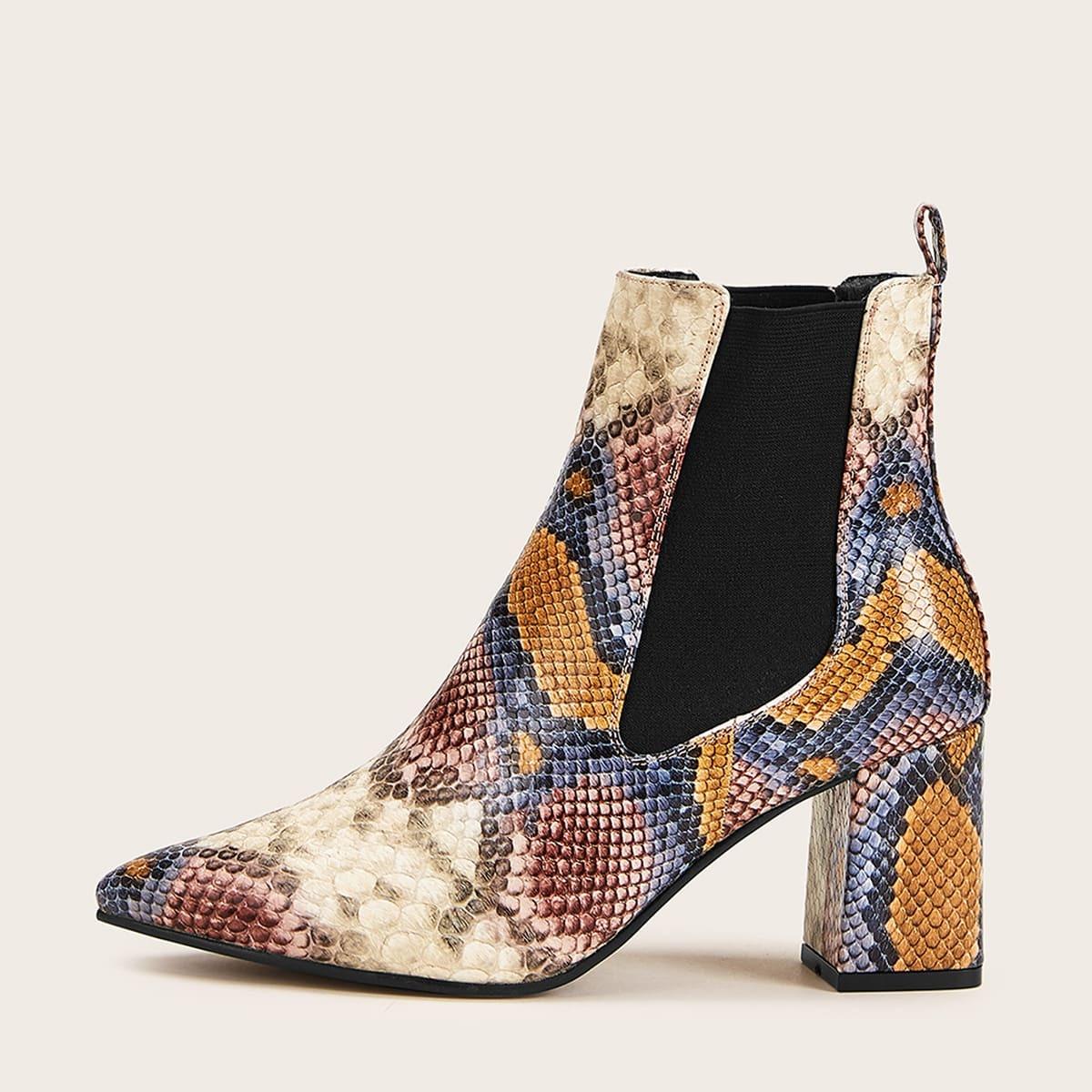 Veel kleurig Business casual  Slangenhuid afdrukken Laarzen