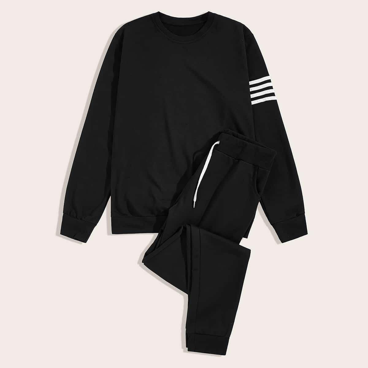 Мужские спортивные брюки и свитшот с полосками от SHEIN