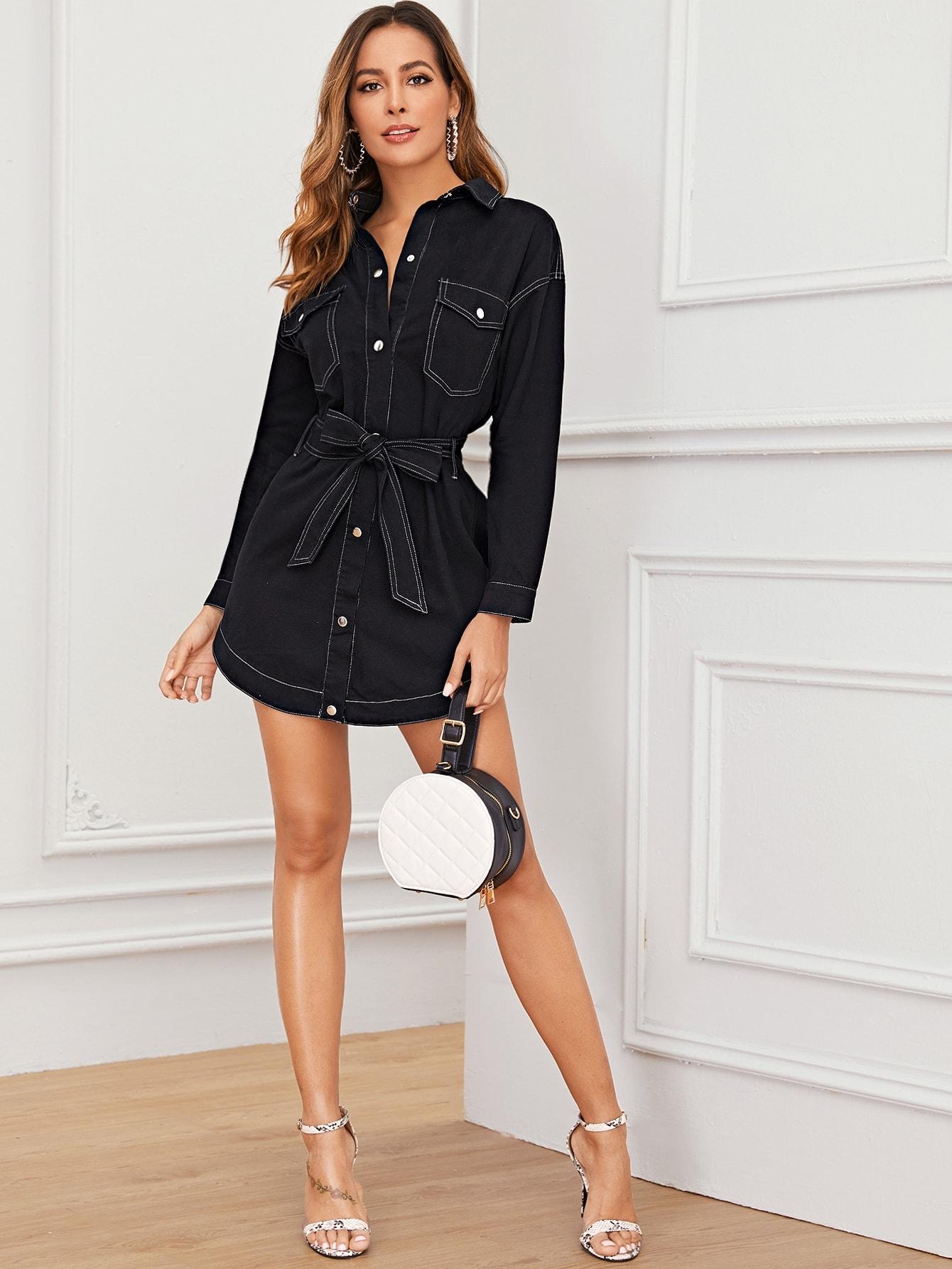 Джинсовое платье с поясом