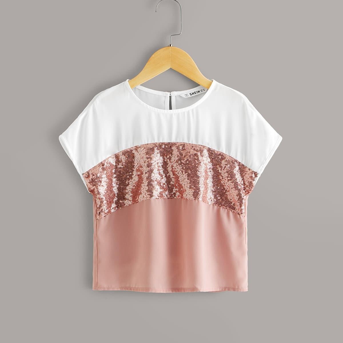 Контрастная блуза с блестками для девочек от SHEIN