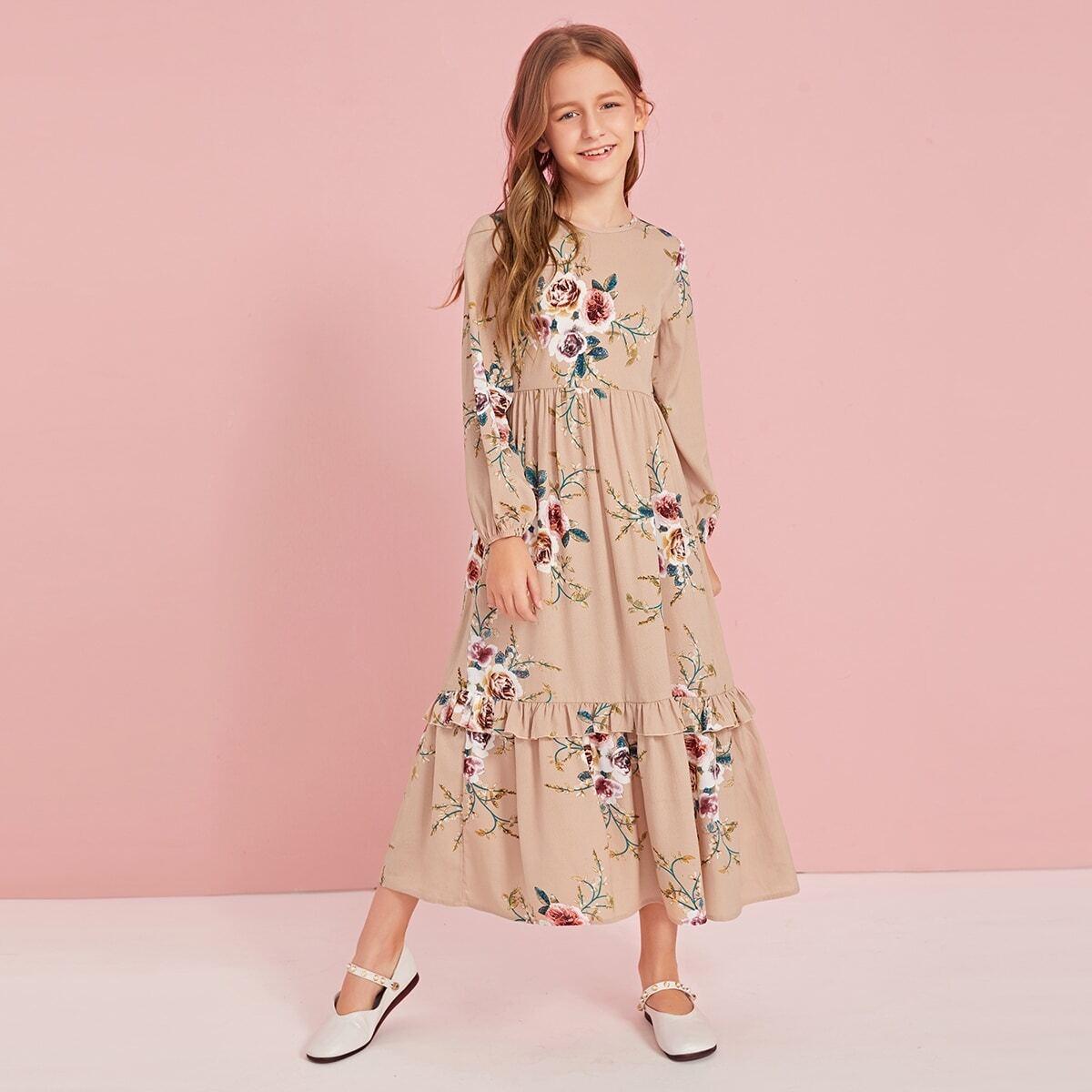 Цветочное платье с молнией сзади для девочек от SHEIN