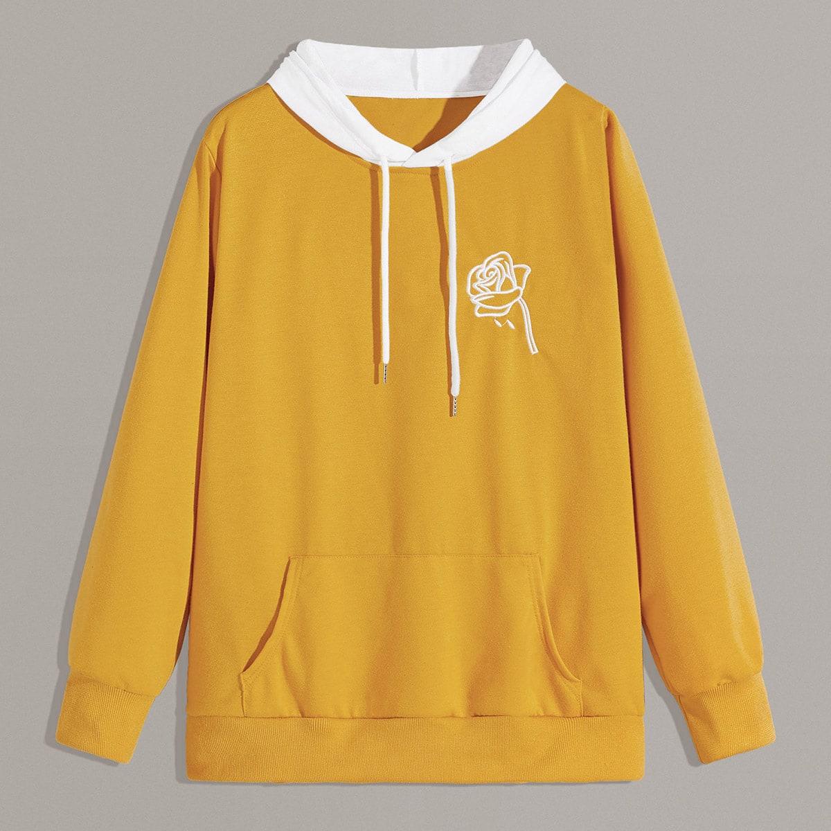 Geel Casual Contracst kraag Sweatshirts voor heren