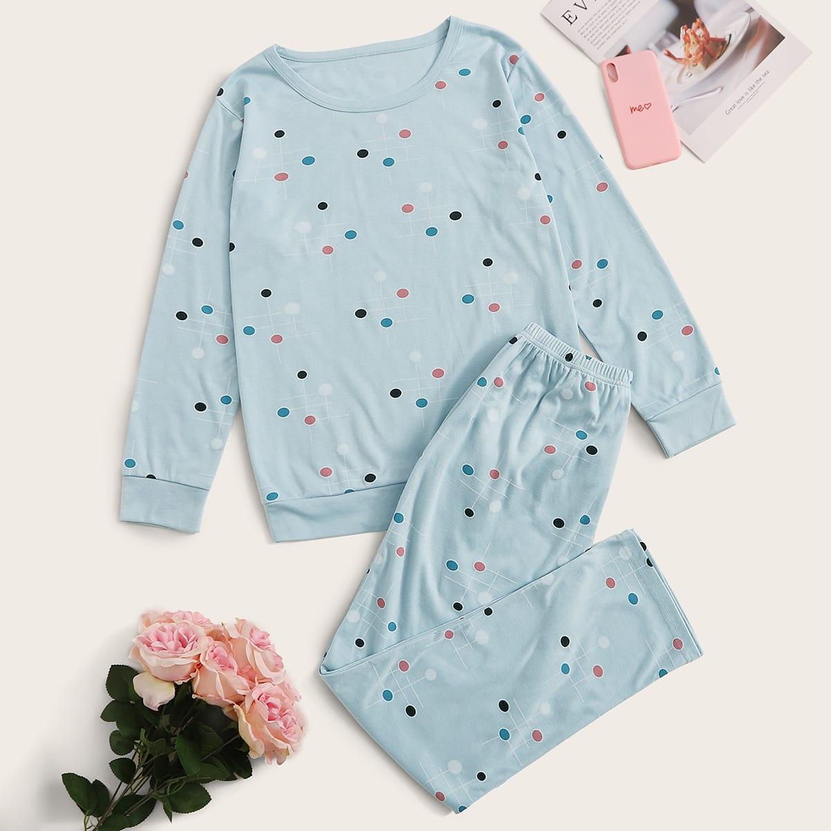 Blauw Casual Stippen Lounge kleding