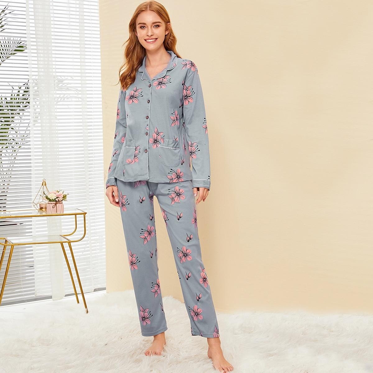 Пижама на пуговицах с цветочным принтом от SHEIN