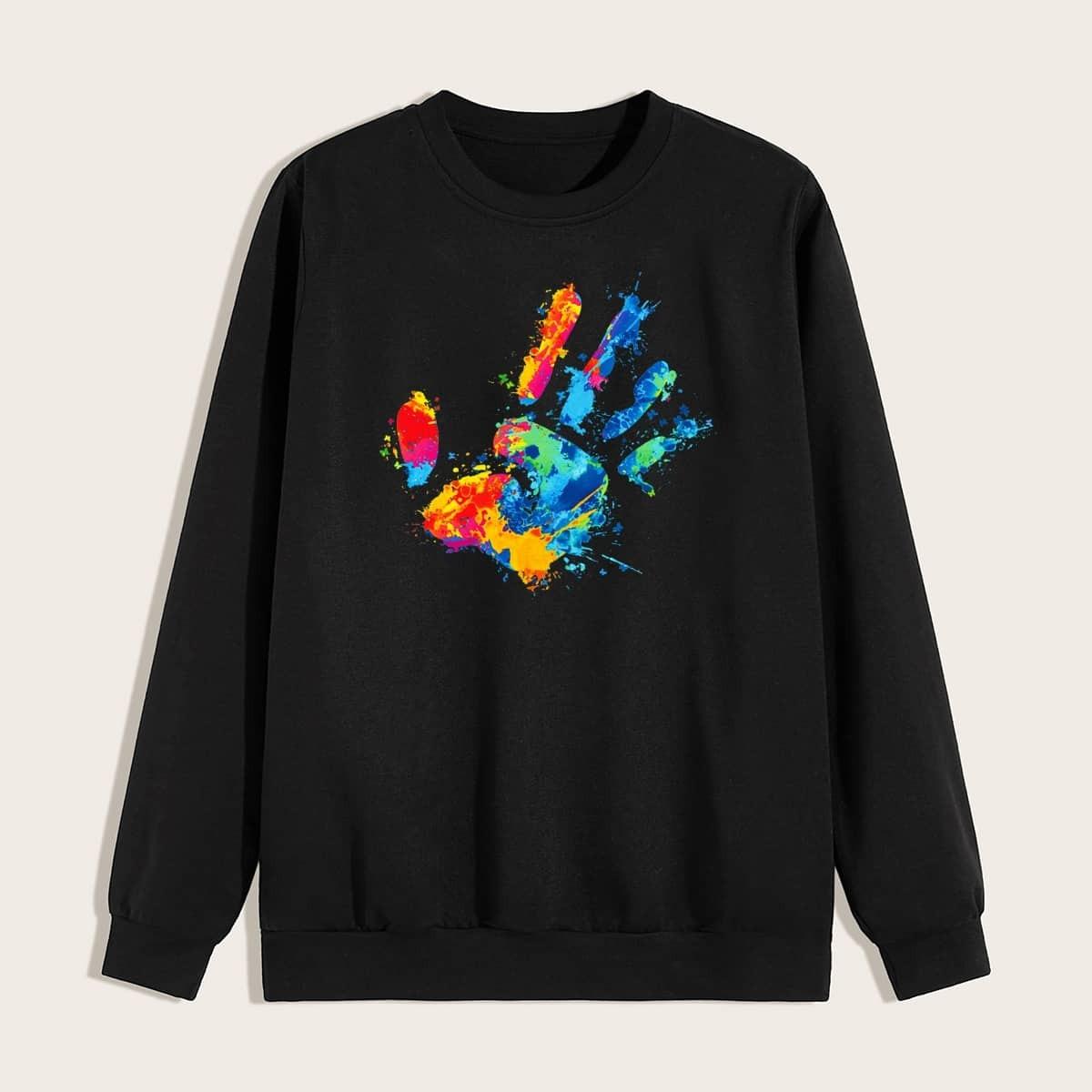 Zwart Casual Figuren Sweatshirts voor heren