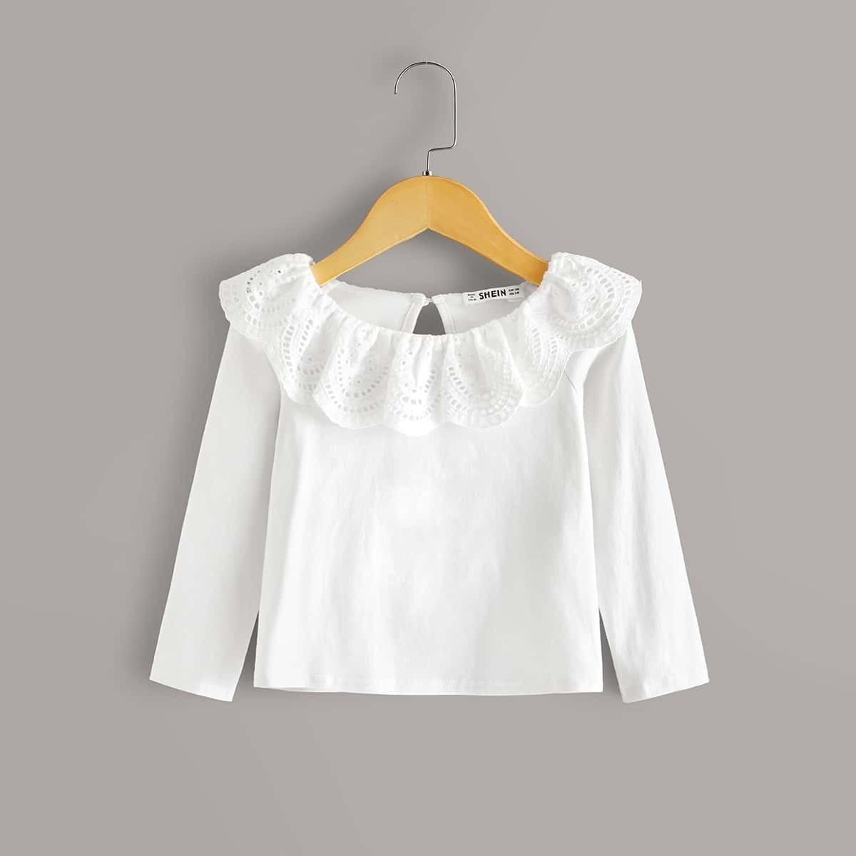Wit Casual Vlak Shirts kleuters-meisjes Rimpeling