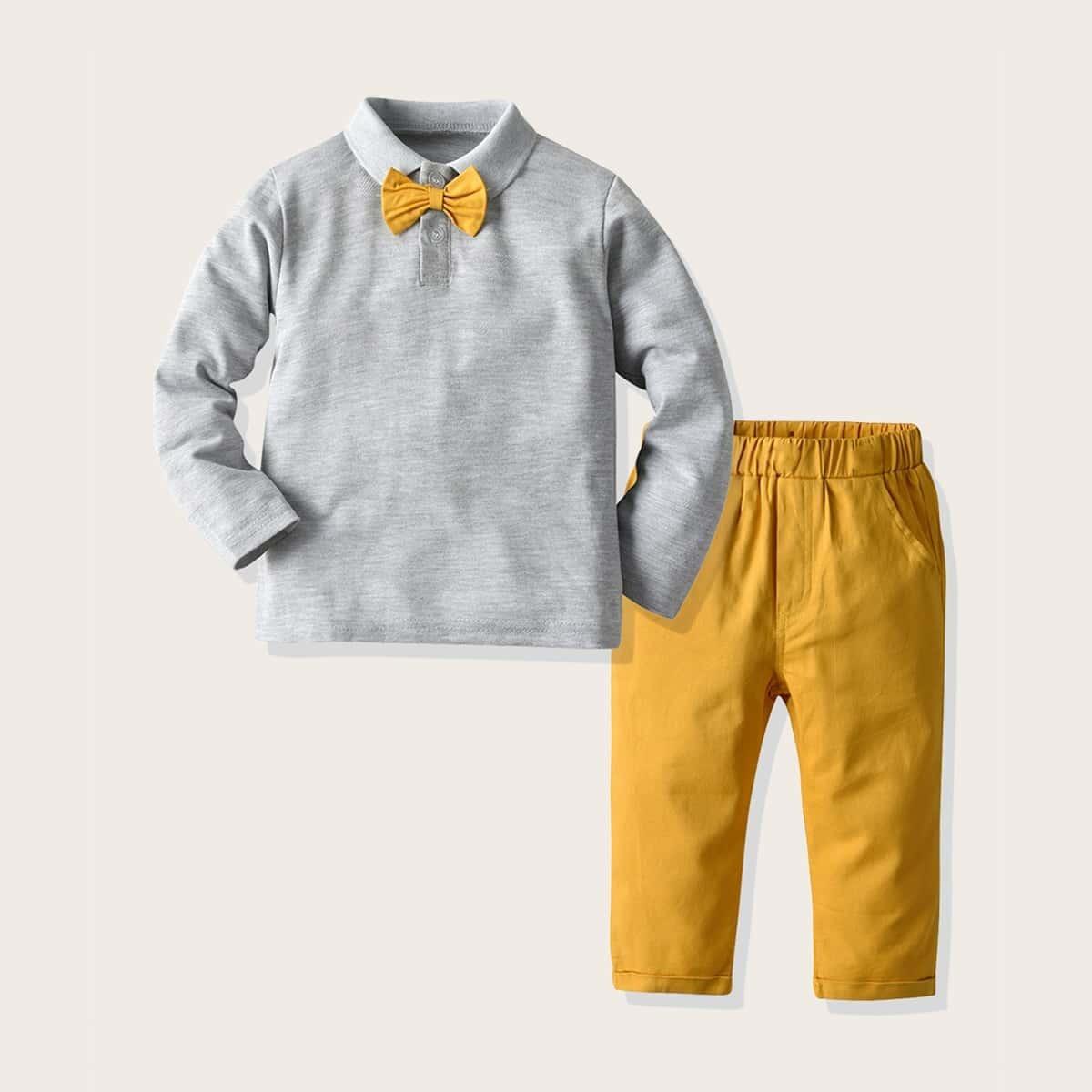 Брюки и рубашка-поло с бантом для мальчиков от SHEIN