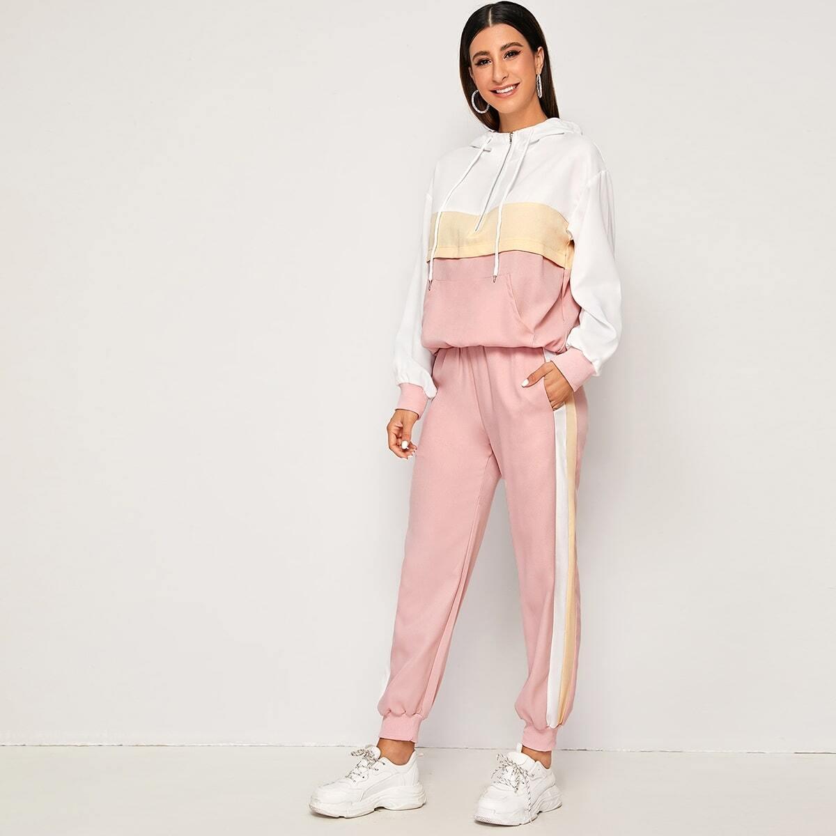 Контрастные спортивные брюки и толстовка на молнии от SHEIN