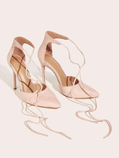 SheIn / Suede Point Toe Tie Leg Stiletto Heels