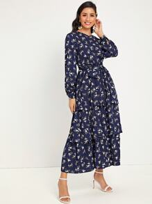 Ruffle   Floral   Dress   Print   Belt