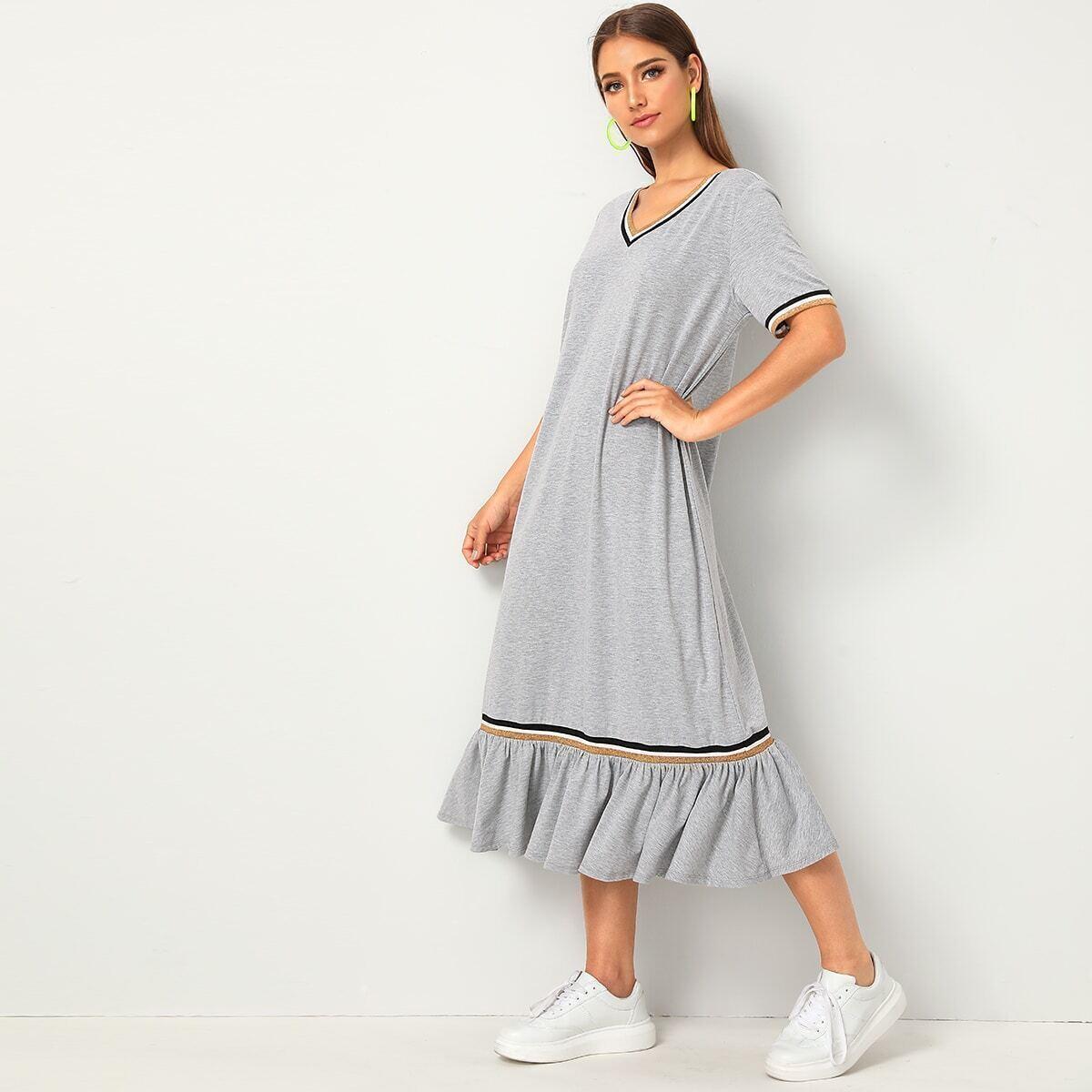 SHEIN / Kleid mit Streifen Band und Raffung