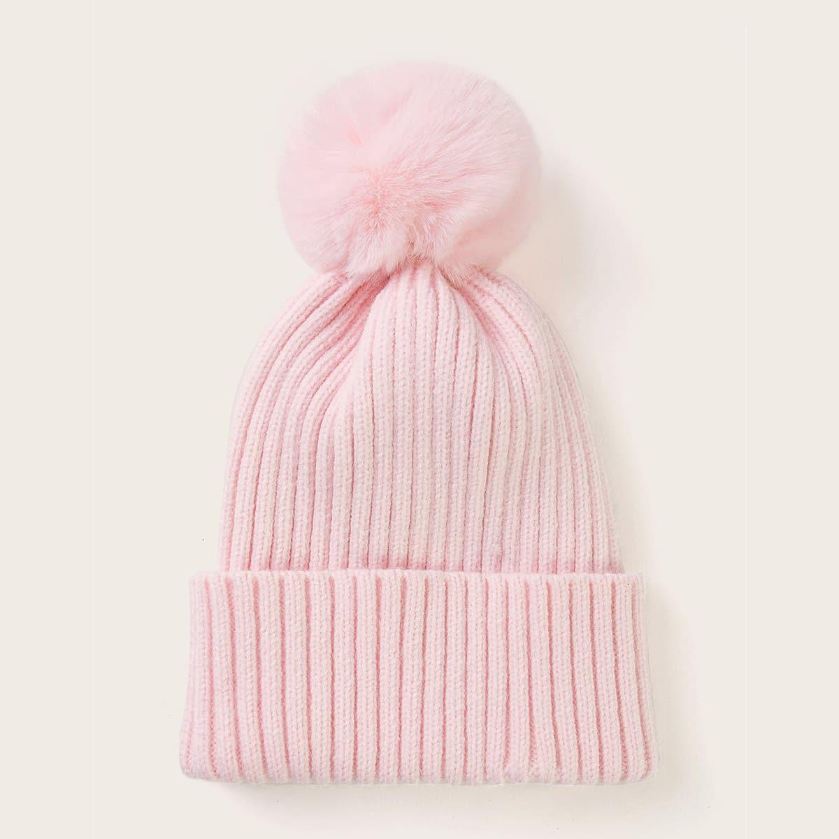 Peuter meisjes Pom Pom Decor Cuffed Hat