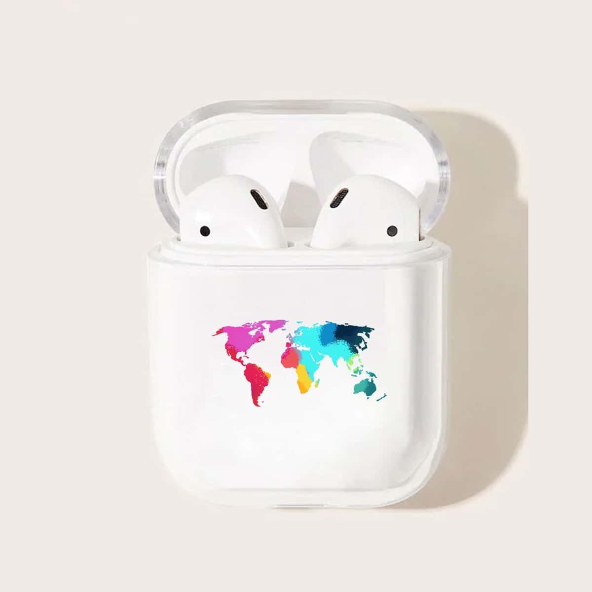 Kleurrijke kaartpatroon Airpods Box Protector
