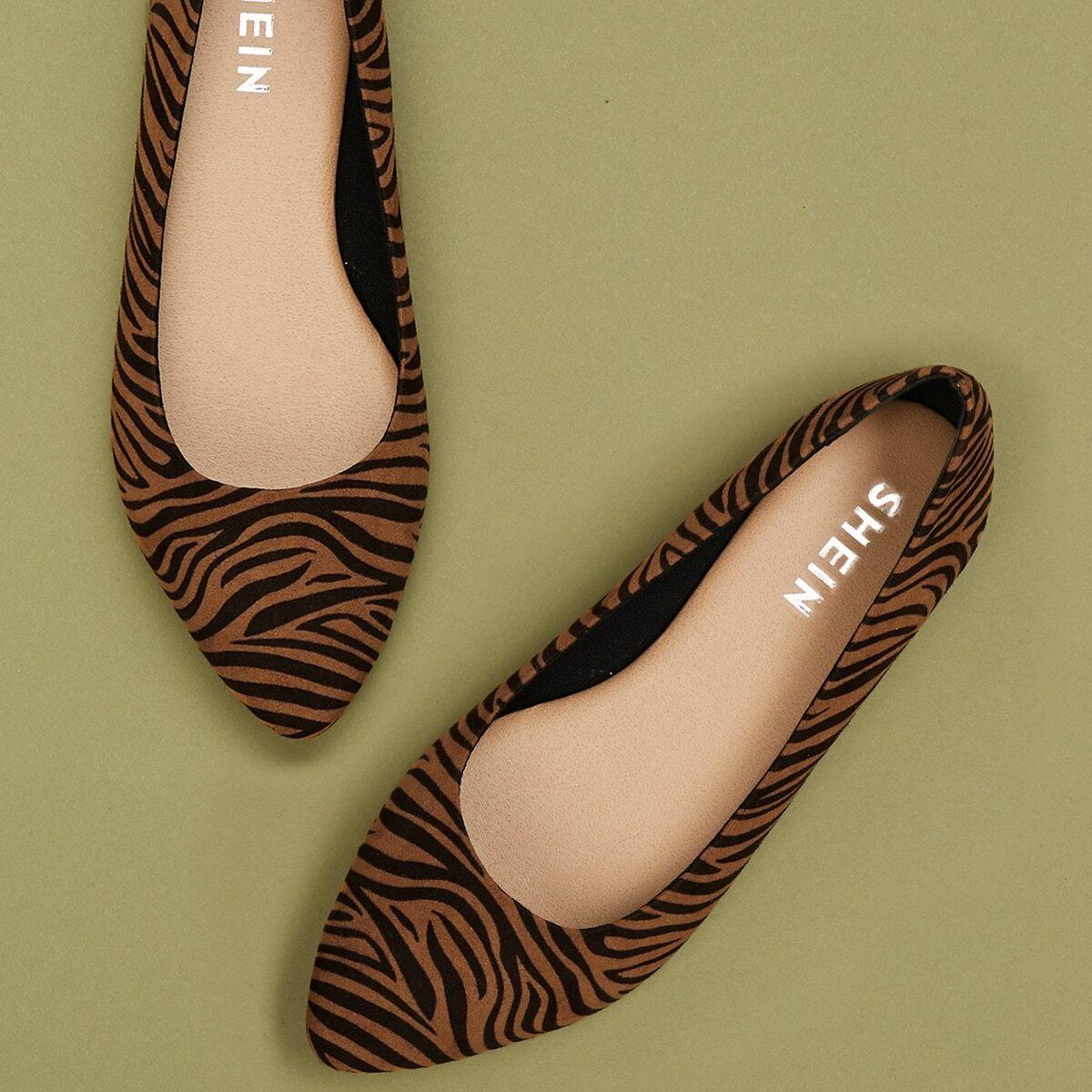 Bruin Comfortabel Zebra print Ballerina's