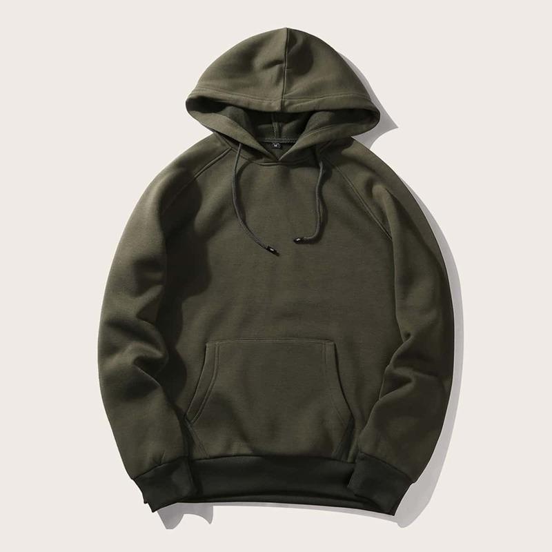 Guys Solid Hooded Sweatshirt, Army green