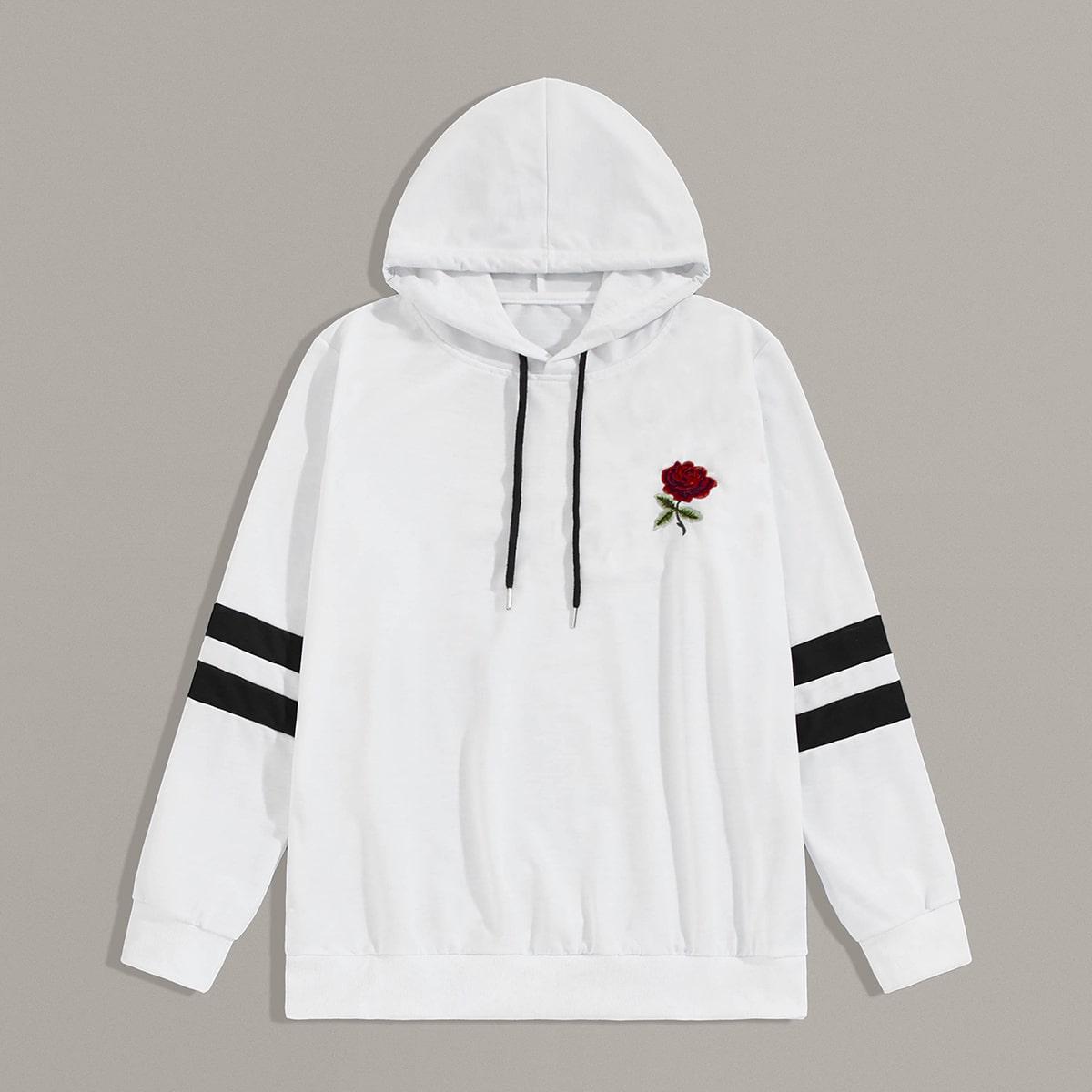 Wit Casual Borduurwerk Gestreept Sweatshirts voor heren