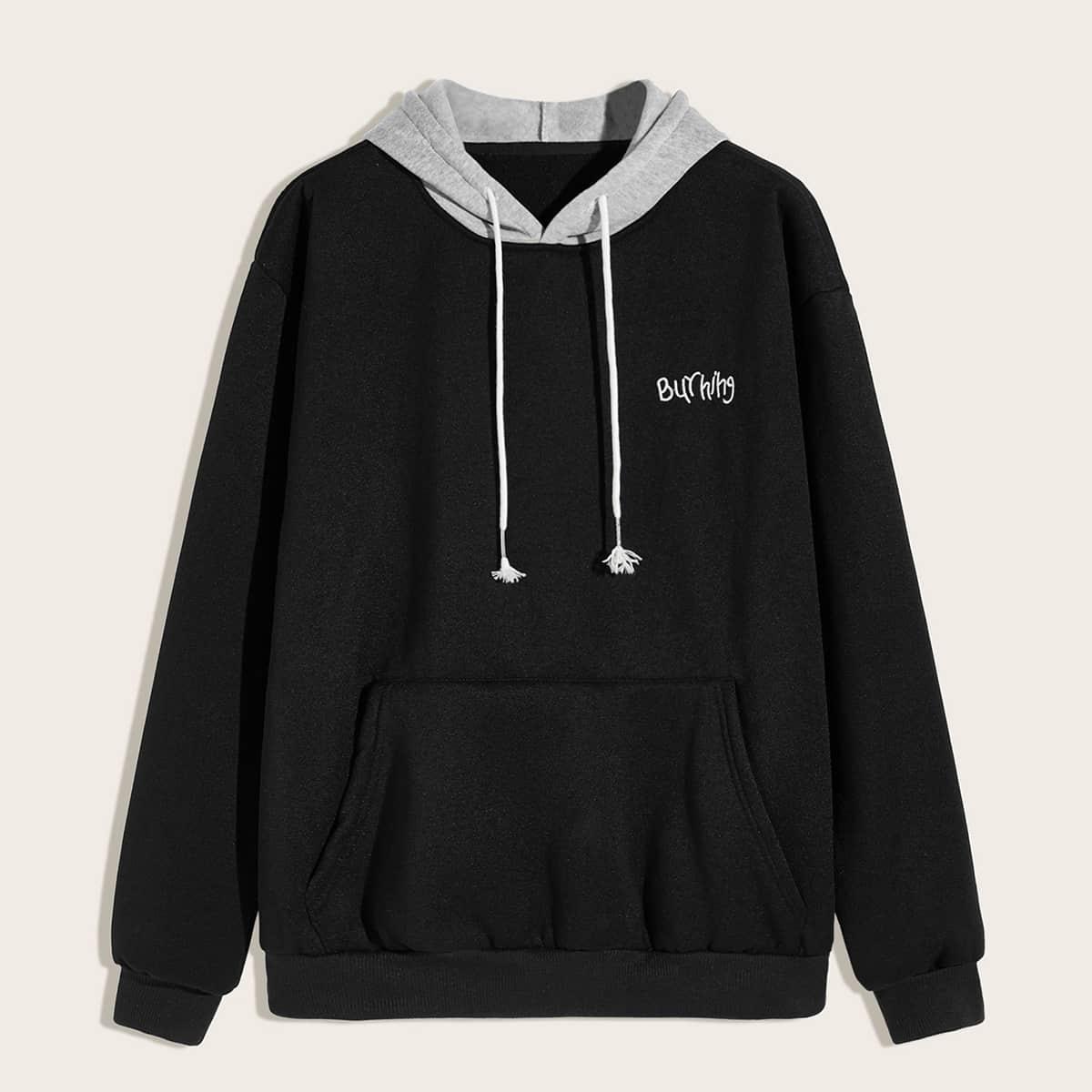 Zwart Casual Borduurwerk Sweatshirts voor heren