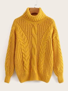 High Neck Drop Shoulder Cable Knit Sweater