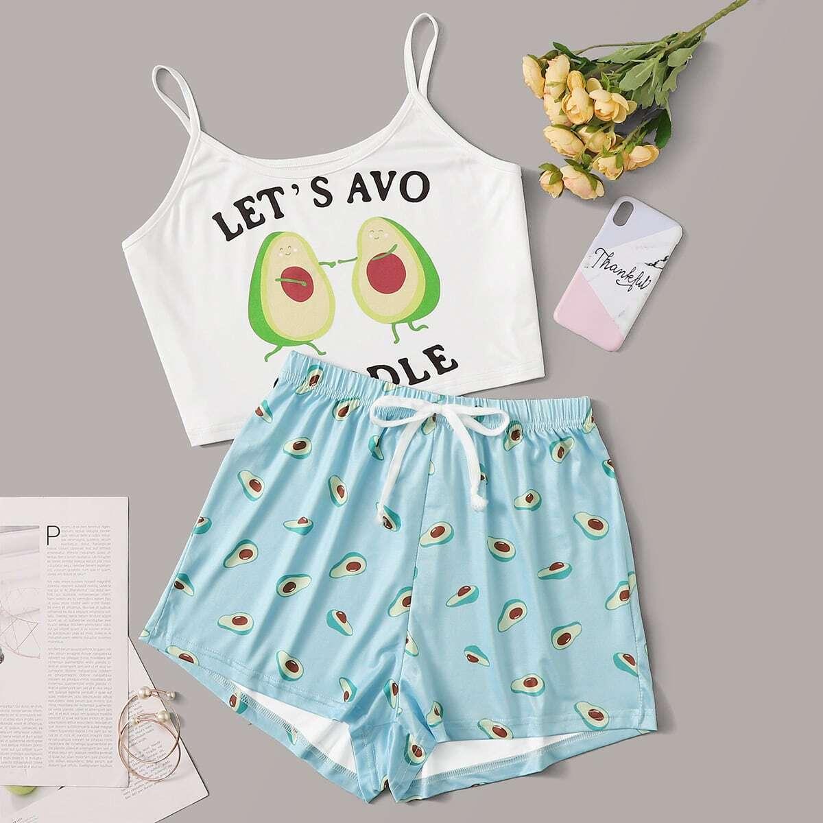Пижама на бретелях с принтом