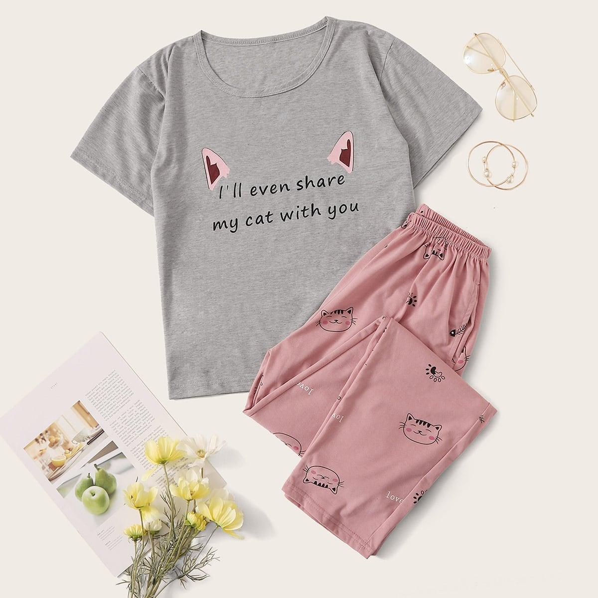 Пижама с оригинальным принтом от SHEIN