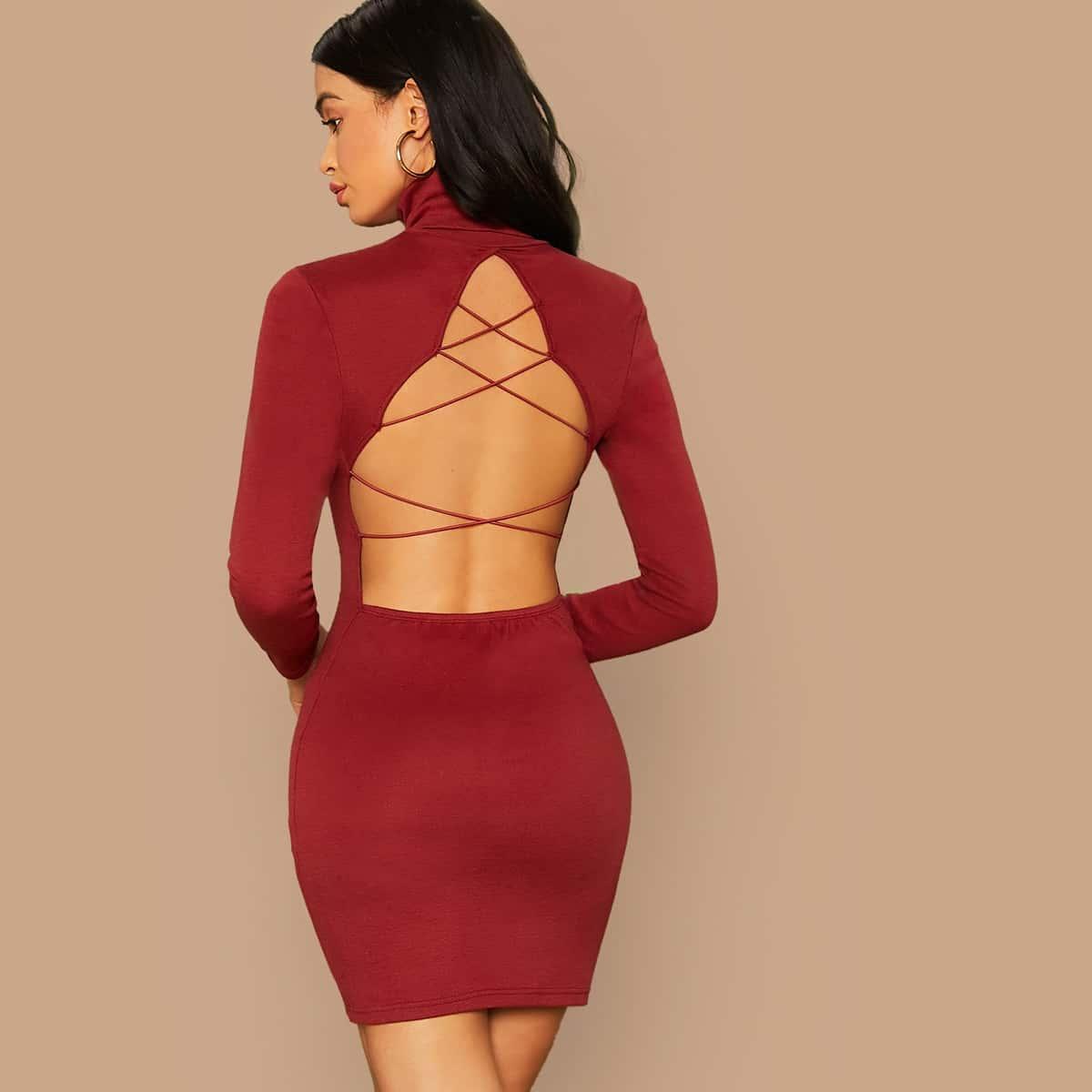 SHEIN / Vestido ajustado de espalda con tiras cruzadas de cuello halter