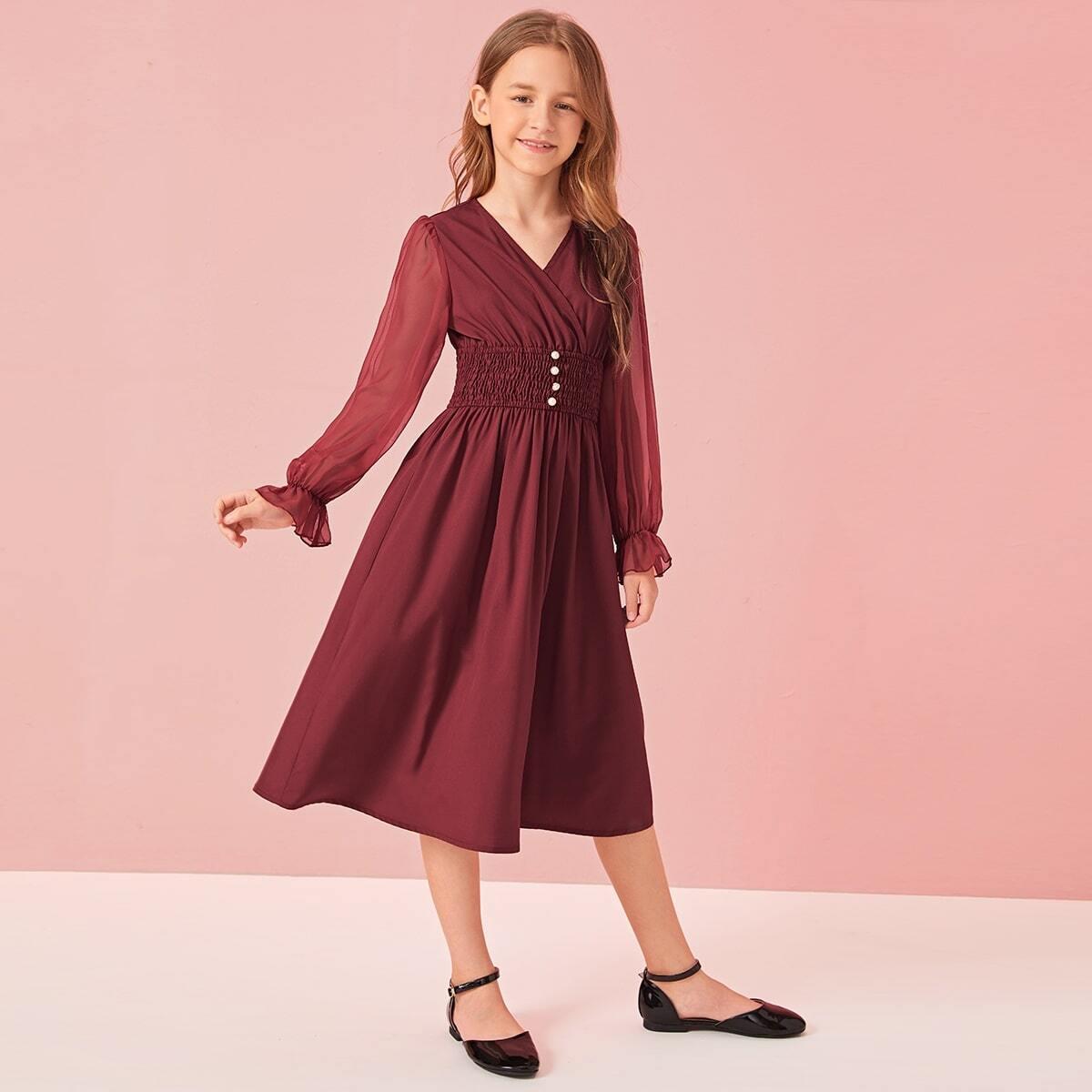 Стильное платье с шифоновым рукавом для девочек от SHEIN
