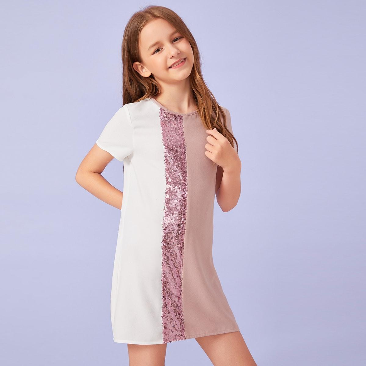 SHEIN / Mädchen Kleid mit Farbblock und Pailletten Einsatz