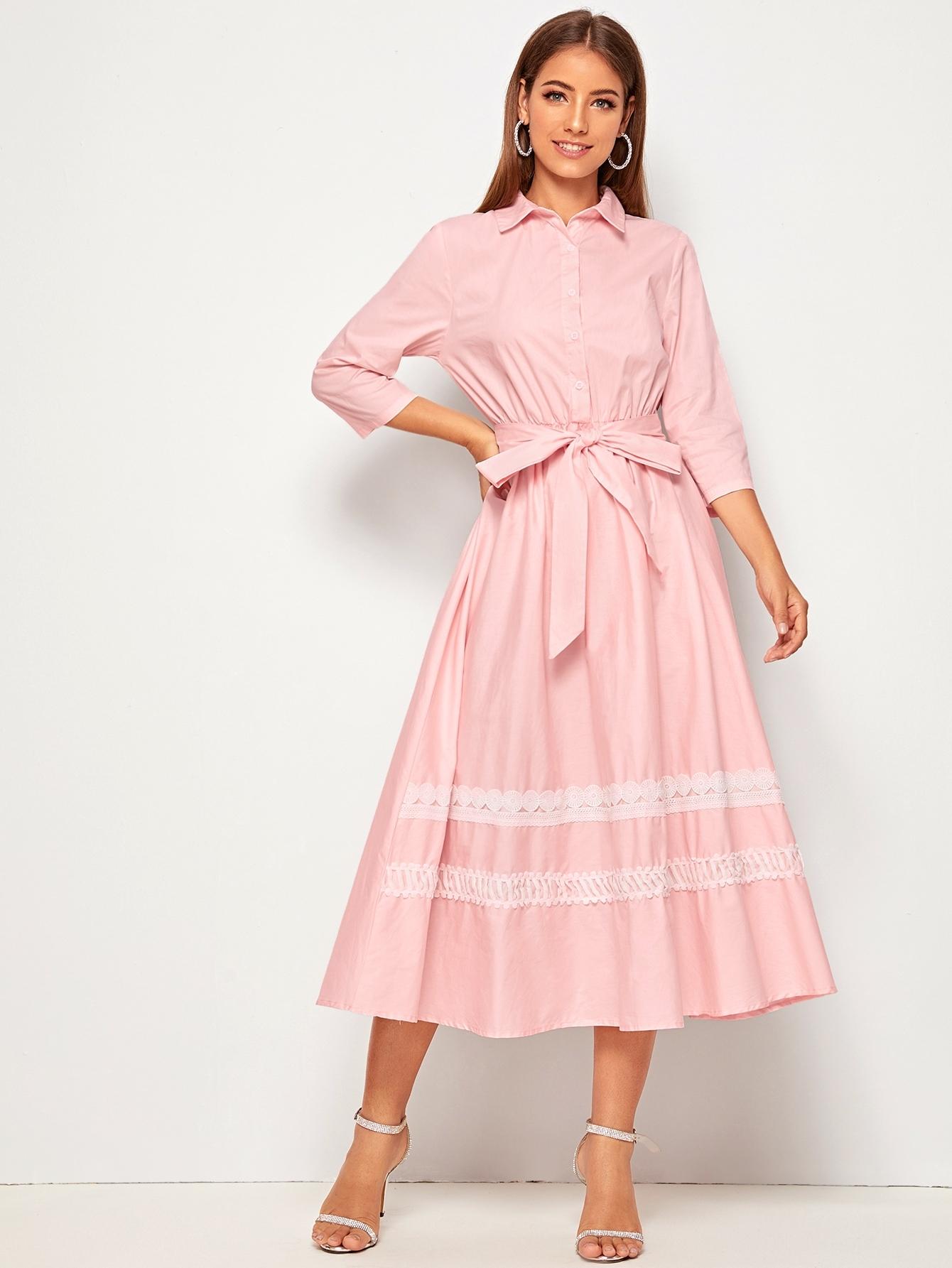 Кружевное платье-рубашка с поясом