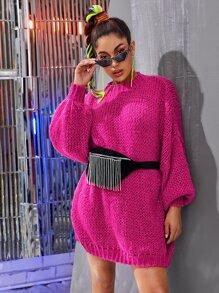 Shoulder | Sweater | Dress | Neon | Pink | Neck | Bag
