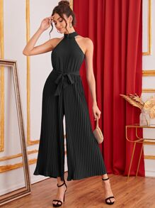 Tie Back Pleated Wide Leg Belted Halter Jumpsuit