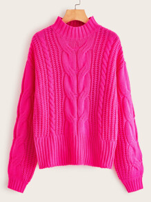 Shoulder | Sweater | Cable | Neon | Pink
